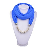 Wholesale Crochet Yarn Scarf - Winter New Inifinity Scarf Jewelry Pearl Beads Pendant Scarves Mix Color Satin Solid Color Fashion Shawls for Women Ladies SC150149
