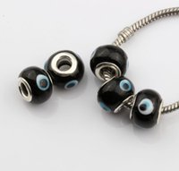 Wholesale Evil Eye Glass Beads Bracelet - Hot ! 200pcs Evil Eye Murano Black Color Colored Glaze 5mm Big Hole Glass Beads Fit Charm Bracelet DIY Jewelry 14mm