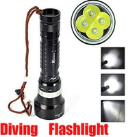 Wholesale Diver Diving Flashlight - High Quality Underwater 100m 6000LM 4x Cree XML XM-L L2 LED 3-mode Waterproof Scuba Diver Diving Flashlight Lantern By 2x18650 battery