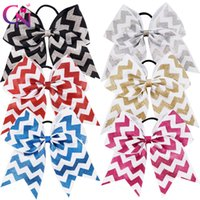 """Wholesale chevron accessories - 12 Pcs  Lot 7 """"Glitter Printed Ribbon Chevron Cheer Bow With Elastic For Kids Girls Teens Striped Hairband Hair Accessories"""