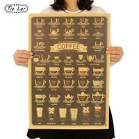 Graphic Vinyl Kraft Pattern TIE LER Coffee Cup Daquan Bars Kitchen Drawing  Poster Adornment Vintage Poster