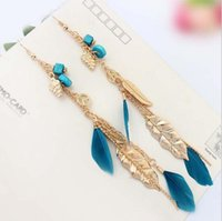Wholesale Vintage Carnival - Bohemia Style Vintage Golden Leaves Feather Ear Jewelry Women Long Dangle Alloy Tassels Earrings For Carnival Club Bar Party