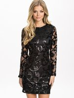 Wholesale Long Dress Brocade - Wholesale- Brocade Sequin Fashion Dress 2016 Long sleeve Sexy leather decorated dress ohyeah Black women Bodycon dress for women FREE SHIP
