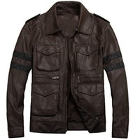 Wholesale Evil Cosplay Costume - Fall-Men's Resident Evil 6 Leon Kennedy PU Leather Knight Moto Motorcycle Jacket Coat Costume Cosplay Black Coffee