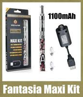 комплекты для начинающих сигарет без пара оптовых-Стильный Fantasia Maxi Kit 1100mAh Starter Kit с фантазийным кальянным пером кальянная ручка 2мл распылитель Vapor E Сигаретный блистерный комплект DHL Free TZ269