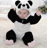 Wholesale Cute Babies Panda Costume - New Cute Animal Panda One Piece Long Sleeve Cotton Newborn Baby Hooded Romper Baby Costume Clothing Clothes hight quality free shipping