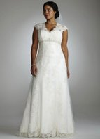 Wholesale Empire Waist Wedding Dresses Beaded - Plus Size Wedding Dresses A Line Empire Waist Beaded Lace Bridal Dresses V Neck Capped Sleeves Garden Wedding Gowns