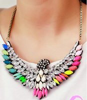 Wholesale Eagle Collar Necklace - Gold Chunky Chain Women Fashion Colorful Crystal Eagle Necklace Acrylic Statement Choker Necklace Collar Hot PM1