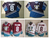 Barato China Por Atacado Desportivo-Atacado Homens CCM Hockey no Gelo Jersey Barato Mighty Ducks 8 Teemu Selanne Camisas Vintage Throwback de Logotipo Bordado China Camisas Esportivas