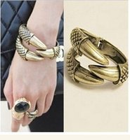 Wholesale Eagle Talons Bracelet - Free Shipping Dragon Clamp 12pcs Fashion PUNK Jewellery,Big Eagle talons Bangles Hawk Dragon Bangle Bracelet 3 claws Animal Jewelry