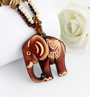 Wholesale Wood Pendant Necklace Elephant - Boho Ethnic Jewelry Long Hand Made Bead Wood Elephant Pendant Maxi Necklace For Women