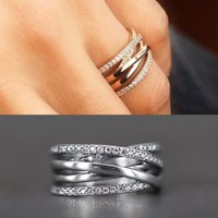 Wholesale Antique China Brands - 2017 New Rings Compatible with Brand Jewelry 925 Sterling Silver Entwined Round Rose Rings Antique Pave Zircon Rings fit pandora For Women