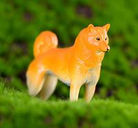 ingrosso ornamenti da giardino cane-4pcs rabarbaro cane animale ornamento Fairy Garden Miniatura di plastica Artigianato Terrario Figurine Baison Strumenti Dollhouse Decor Accessori per la casa