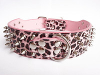 "Wholesale Leather Leopard Large Dog Collar - 1pcs 2"" wide pu Leather Dog Collar Spiked 15""-22"" Pitbull Studded Mastiff pink leopard Small Medium large"