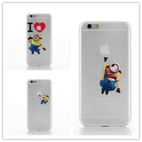 Wholesale Cell Phone Cases Minions - For iphone 5 5S Hard PC transparent matt Case Minions Painting protector cartoon Cell Phone Cases cover