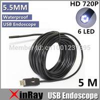 Wholesale Digital Microscope Endoscope - New microspe Super Mini 5.5mm Dia USB Endoscope 1.3MP 720P HD Endoscope Camera 6LED 1280*720 Borescope Insepction Camera IC5M Free shipping