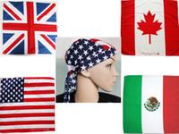 bandanas de algodão venda por atacado-100% Algodão Cabelo Bandana Beanie Tie Down Hat Cabeça Envoltório EUA REINO UNIDO Canadá México Bandeira Cachecol, 12 pçs / lote frete grátis