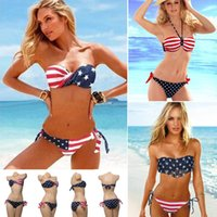 Wholesale Ladies Swimwear Fringe - 5 Styles Newest Summer Lady Push-up Padded USA Bikinis BOHO British American Flag Fringe Tassel Bandage Bathing Suits Swimwear Free Shipping