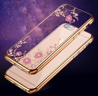 Wholesale Rubber Iphone Case Flower - For iPhone6 iPhone 6 6S Plus 6Plus Luxury Rhineston Flower Electroplate Soft TPU Rubber Ultra thin Backcover Case Cover for iPhone6S i6+ i6S