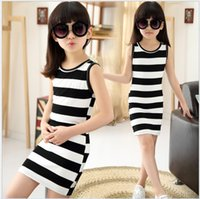 Wholesale Korean Girl S Clothing - Big Girls Black White Stripe Dress Retail 2015 Summer Hot Sale Children Sleeveless Vest Dress Childrens Clothes Kids Dress Korean Girl Dress