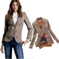 Wholesale Womens Long Jacket Suits - 2015 Autumn New Womens Vintage Slim Plaid Elbow Patch Single Button Blazer Ladies Casual Fashion Jacket Suit Blaser Feminino
