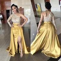Wholesale one shoulder dress nude - One Shoulder Front Split Evening Dresses Lace Top Satin Skirt Long Sleeves Prom Dress Long Zipper Back Plus Size Formal Party Gowns