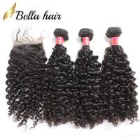 32 inç sapık kıvırcık saç toptan satış-Demetleri Ile dantel Kapatma Bakire Brezilyalı Saç Atkı 3 adet Sapıkça Kıvırcık Saç Örgüleri Doğal Renk Bellahair 8A