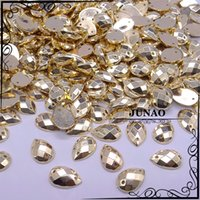 Wholesale Crystal Stones For Dresses - Wholesale-8*12mm Gold Drop Sew On Rhinestone Acrylic Flatback 2 Holes Strass Crystal Stones For Dress Garment 2000pc