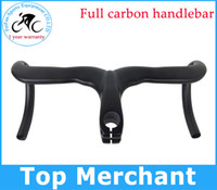 Wholesale Road Stickers - Road carbon handlebar full carbon bike handlebar without paint no stickers integrated handlebar with stem caliber 28.6 mm