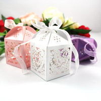 Wholesale Cut Boxes Favor - 50Pcs lot Heart Laser Cut Candy Favour Boxes With Ribbon for Wedding Party Table Decoration Wholesales -1BOX-AX