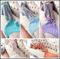 Wholesale adult mermaid tail blanket for sale - Group buy 5 Colors cm Rainbow Mermaid Blanket Pattern Crochet Mermaid Tail Blanket Adult Sleeping Yarn Knitted Mermaid Blankets CCA8365