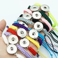 Wholesale bracelets mix adjustable - Fashion SE0147 10pcs mixed manual rope bracelets 19CM adjustable for 18mm snap buttons DIY snap jewelry wholesale