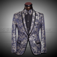 Wholesale Silver Slim Prom Dresses - Jackets+Pants+Bow tie Men's Luxury Suits Groom Groomsman Dress Business Suit Pants Wedding Men Summer Slim Fit Prom Mens Silver Suits 2017