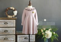 Wholesale Baby Doll Sleeves Dress - Autumn New Girls Dress knit Cute doll collar Baby Girls Long Sleeve Dresses Children Clothing 17179