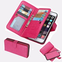 Wholesale iphone6 plus case leather for sale - For iphone S Plus Cards Slots Flip Wallet Leather Case With Magnet Detachable Removable in1 Hard Cover For iphone6 Plus