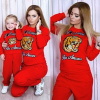 Wholesale Girls Tiger Sets - Women's Tiger head Embroidery Two Piece Pants+girl boy Tiger head Leisure Set size 73cm 80cm 90cm 100cm