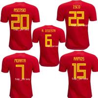 camisetas de fútbol españa al por mayor-Nueva camiseta de la Copa del mundo de España de 2018 INIESTA RAMOS camiseta roja de Asensio COSTA SILVA ISCO camiseta de fútbol de calidad superior de España Asensio 2018