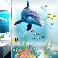 desenhos animados do oceano venda por atacado-Underwater Sea Fish Tubarão Bolha Adesivos de Parede Para Quartos Dos Miúdos Do Oceano Dos Desenhos Animados Decalques de Parede Janela Do Banheiro quarto cartaz mural