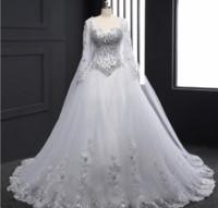 vestidos largos del vendaje de cristal al por mayor-Muestra 2017 Nuevo Tubo del vendaje Top Crystal Luxury Wedding Dress 2018 Vestidos de novia del vestido de novia Vestidos de novia de manga larga