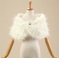 Wholesale Winter Bridal Fur Coats - Gorgeous Warm Winter faux fur stoles Ivory Bridal Wraps winter wedding coat wedding accessories Fur bolero Cheap wedding wrap