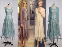 Wholesale New Tea Length - Sfanni Real Image 100% Same 2015 New Beads Appliques Elegant Tea Length Short Mother Dress Mother of the Bride & Groom Dresses Formal Gown