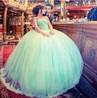 ingrosso vestiti di promenade verde menta modesto-2017 New Modest Arabo Prom Dresses Senza Spalline Perline Backless Ball Gown Tulle Menta Verde Evening Party Pageant Abiti Vestidos