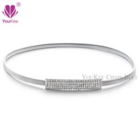 Wholesale Elastic Metal Buckle Belt - Full Rhinestone Elastic Belt For Women Silver Plated Ladies Metal Waist Belt Stretch Waistband Accessories (BL-761) YouKee Belt