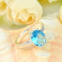 Wholesale Wholesale Evening Jewelry Sets - 2pcs lot Wholesale Christmas Evening Gift Party Jewelry Oval Blue Topaz Gems 925 Sterling Silver Ring USA Size 7 8 9