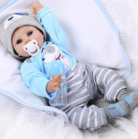 Wholesale Best Realistic Silicone - 55cm Handmade Silicone Reborn Baby Doll Soft Touch Body Lifelike Realistic Hobbies Baby Dolls Reborn Best Toys