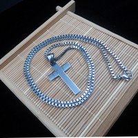 Wholesale Small Pendant Gift Boxes - Fashion Men or Women Silver Stainless Steel Small Charm Cross Pendant and Box Necklace