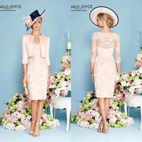 Wholesale Champagne Half Jackets - Ronald Joyce 2016 Elegant Sheath Mother of the Bride Dresses with Jacket V Neck Half Sleeves Lace Mother Formal Wear BA1281
