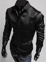 Wholesale Shiny Silk Shirts Men - Man Dress Shirts mens slim fit shirts long silk shiny shirts for men fashion shirts Free shipping