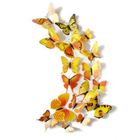 Wholesale Butterfly 3d Diy - Free Shipping 12PCS 3D PVC Magnet Butterflies DIY Wall Sticker Home Decor New Arrival Hot Sales