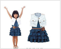 Wholesale Girls Denim Dress Coat - 2015 Summer Children Girls Clothing Set Denim Vest Dresses+White Vest Coat+Flower Belt 3pcs Kids Clothing Girl's Casual Suits Outfits L711
